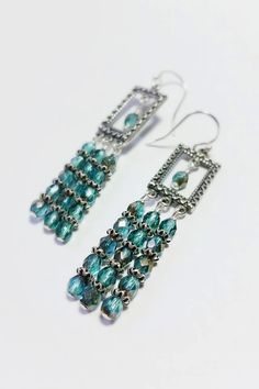 Items similar to Hand crafted geometric style pewter and sterling earrings with Czech glass on Etsy Czech Glass, Pewter, Drop Earrings, Jewels, Trending Outfits, Unique Jewelry, Handmade Gifts, Crafts, Etsy