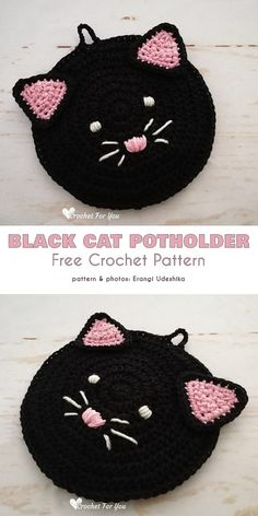 Black Cat, White Cat Free Crochet Patterns Black Cat Potholder Free Crochet Pattern These black cat pot holders are just the thing to help get your kitchen into the mood, and at the same time enable you to grab a hot pot without burning your hand. Crochet Potholder Patterns, Crochet Coaster Pattern, Crochet Dishcloths, Crochet Hot Pads, Free Crochet, Cat Crochet, Knitting Projects, Crochet Projects, Diy Projects