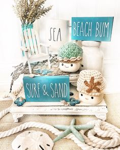 Happy almost Friday! Still over here checking off the days until vacation. My family. This year we will be… Unique Home Decor, Cheap Home Decor, Tray Styling, Beach Themes, Beach Decorations, Tiered Stand, I Love The Beach, Nautical Home, Seashell Crafts