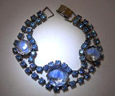 Blue Givre Rhinestone Bracelet Silver Tone by RenaissanceFair