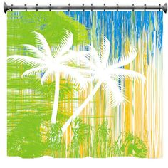 Abstract Palm Trees Shower Curtain  69 X 70 by susanakame1 on Etsy, $89.00