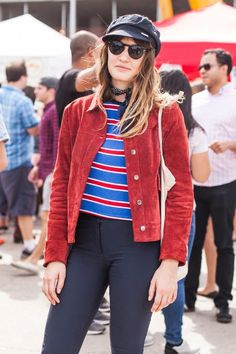 This look shines for incorporating multiple micro trends in one: bandana neckerchiefs, page-boy caps, and suede jackets. #refinery29 http://www.refinery29.com/brooklyn-flea-street-style#slide-2