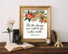 Inspirational quote Be The Change You Wish by SweetPrintTypography
