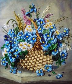 blue flowers, crazy quilting, silk ribbon embroidery, basket, embroidery stitches