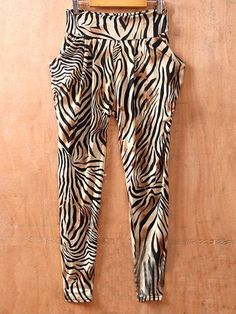 Zebra Street Mid Waist Elasic Skinny Pants