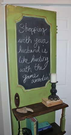 Recycle door as chalk board. Bookshelf attached NO