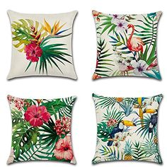HuifengS Linen Throw Cushion Pillow Covers Square Pillowcase Tropical Rain Forest Plant Botany Decorative for Sofas Beds Chairs Cushion Cover Set of 18 x 18 Inch Diy Pillow Covers, Decorative Pillow Cases, Decorative Cushions, Cushion Covers, Printed Cushions, Cushions On Sofa, Throw Pillows, Diy Cushion, Cushion Pillow