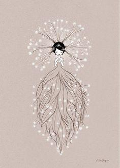 Affiche Fée thème Nature par Cathy Delanssay - Illustration Enfant