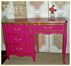 """AVAILABLE -- Victoria's Secret Inspired French Provincial PINK Desk / Vanity - """"The STEPHANIE"""". $395.00, via Etsy."""