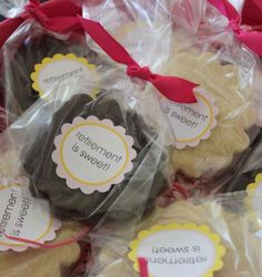 "Easy and inexpensive retirement party favors.  Make cookies, wrap them in cello, add a ribbon and a label.  ""Retirement is Sweet"""