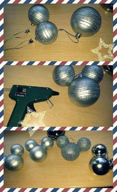 DIY Mickey christmas ornament - why haven't we done this yet @Ann Flanigan Flanigan Flanigan Flanigan Flanigan Eng