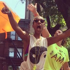 "Samira Wiley (Poussey) and Dascha Polanco (Daya) rocked out. | The ""Orange Is The New Black"" Cast Totally Owned The NYC Pride Parade"