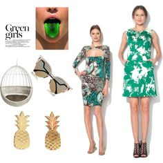 Green girls by ioanacarmen on Polyvore featuring Vinca, Fendi, CB2 and Green Girls