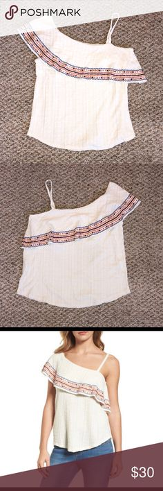 NWT Lucky Brand L One Shoulder Embroidered Blouse ~ NWT! ~ Very pretty lightly textured material. ~ Soft and lightweight. ~ Ivory-colored with embroidery in shades of blue, dark orange, burgundy, pale pink and light brown. ~ Would look great with denim and brown boots or sandals. ~ Please ask any questions. ~ Thanks for visiting my closet! Lucky Brand Tops Blouses