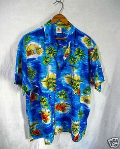 Vintage Tropical Hawaiian Aloha Camp Shirt Mens L Top Hibiscus Palm Tree by RIM
