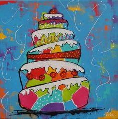 Schilderij Taart 70x70