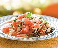 Watermelon Salad:  12 servings; 46 calories, 4 mg cholesterol, 2.4 g fat, 5.5 g carbs, 0.5 g fiber, 1 g protein, 1 points+ per  (1/2 cup salad and about 1-1/2 teaspoons cheese) serving