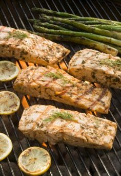 Premium Thick-Wrap Canvas Wall Art Print entitled Seasoned salmon and asparagus cooking on grill, None Entree Recipes, Fish Recipes, Seafood Recipes, Salmon Recipes, Grilled Fruit, Grilled Salmon, Best Pickles, Salmon And Asparagus, Salmon Food