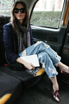 Blazer, distressed jeans and loafer pumps... Dressed up casual never looked so good!! Totally my style!