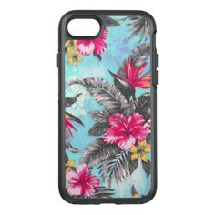 Beautiful tropical floral paint watercolors OtterBox symmetry iPhone 7 case