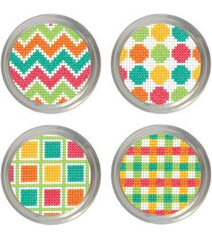 Cross Stitch Borders Patterns Jar Topper Counted Cross Stitch Kit - Set Of 4 - Dress up a jar for every occasion- wedding, thank you or just because! Kit makes 4 different designs and fits both standard and wide mouth jars. Cross Stitch Cards, Cross Stitch Borders, Modern Cross Stitch, Counted Cross Stitch Patterns, Cross Stitch Designs, Cross Stitching, Cross Stitch Embroidery, Blackwork, Hama Bead