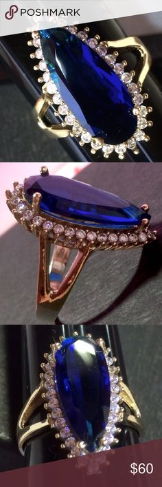 Beautiful! Fine Quality Blue Sapphire Ring SPECTACULAR!!! Turkish sterling silver .925 w/bronze ring. Brilliant Sparkling Round Diamond Cut or Polishing White Topazes. Sapphire Ottoman Design handmade artisan personal order ring from Europe. Size 9 1/2. Turkish Style Jewelry Rings