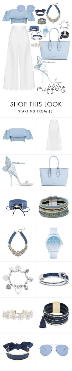 """""""Ruffled Tops theme."""" by badgalstylee ❤ liked on Polyvore featuring Miguelina, Sophia Webster, Armani Jeans, Design Lab, BaubleBar, Lacoste, ChloBo, Humble Chic, Monica Sordo and Kaleos"""