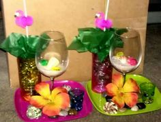 Luau hawaiian theme centerpieces