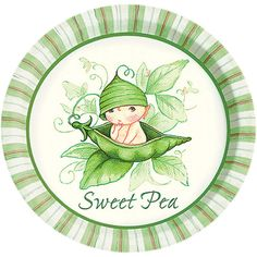 great selection of paper goods in adorable Sweet Pea theme for baby shower