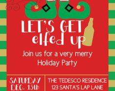 Christmas Party Invitation - Let's Get Elfed Up - Holiday Funny Invite - Green and Red - Elf Legs - Printable or Printed With Envelopes