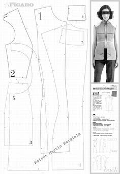 assemble pattern for sleeveless jacket springs/summer 1997, martin margiela