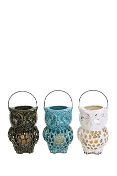 Ceramic Owl Lanterns - Set of 3