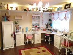 Image result for multiple craft spaces in one room