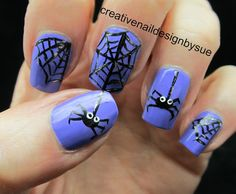 Creative Nail Design by Sue: Spiders On Purple. That indigo-ish color is so cute!