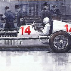 Mercedes W25C Monaco GP 1936 Manfred von Brauchitsch painting by Yuriy Shevchuk