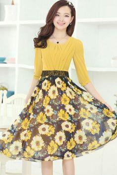 Vintage Floral Plisado Chiffon Vestido