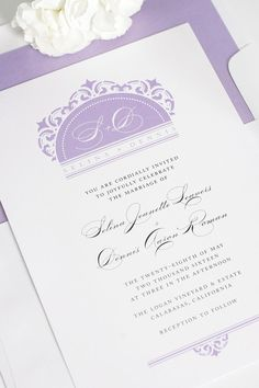 Classic and elegant damask wedding invitations in amethyst purple. Featuring a gorgeous script and delicate damask design!