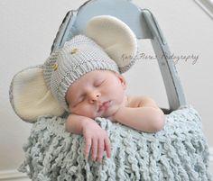 Newborn... Baby boy elephant beanie.... Newborn pose Www.karifloresphotography