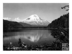 Mount St. Helens From Spirit Lake, 1923 Giclee Print by Asahel Curtis at Art.com
