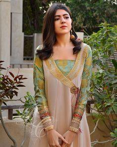 Angrakha Style, Desi Wedding Dresses, Kamiz, Pakistani Dresses, Pure Silk, Indian Fashion, Neck Design, Chiffon, Beige