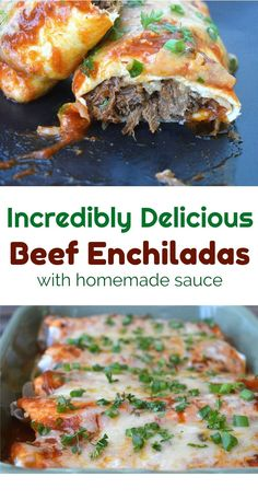Incredibly delicious Beef Enchiladas These are SO goods, they could be the best you've ever had in or out! Incredibly delicious recipe for Beef Enchiladas with homemade enchilada sauce. These may be the best beef enchiladas you have ever had! Homemade Enchilada Sauce, Homemade Enchiladas, Enchilada Recipes, Steak Enchiladas, Shredded Beef Enchiladas, Shredded Beef Recipes, Authentic Beef Enchilada Recipe, Steak Tacos, Mexican Dishes