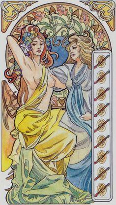 9 de bâtons - Tarot art nouveau par Antonella Castelli