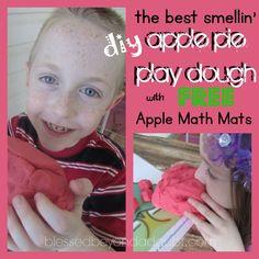 FREE apple playdough mats with apple pie playdough recipe. It smells so good!
