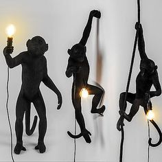 Check out this Seletti Black Outdoor Monkey Lamps