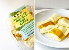The new Sweet Corn, Burrata, and Basil Ravioli from Trader Joe's screams Summer. The filling has a combination of soft ricotta cheese and creamy burrata, and Best Trader Joes Products, Ricotta Ravioli, Popsugar Food, Sweet Corn, Quick Easy Meals, Yummy Treats, Cheese, Recipes, Trader Joe's