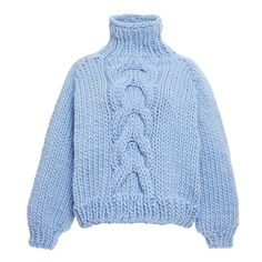 I Love Mr. Mittens Blue Wool Cropped High Neck Cable Knit Sweater ($365) ❤ liked on Polyvore featuring tops, sweaters, long sleeves, outerwear, crop top, chunky turtleneck sweater, turtleneck crop top, chunky sweater and wool turtleneck sweater