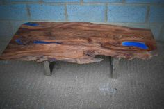 Live edge elm and resin coffee table on chrome legs