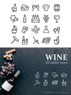 20 WINE ICONS --- What's Included? - ZIP file: 1 EPS, 1 JPG x 4000 px) Features - easy to change colour - fully resizable vector graphics Wine Bottle Design, Wine Label Design, Prosecco Van, Wine Tattoo, Wine Icon, Wine Vine, Wine Logo, Liquor Drinks, Doodle Designs
