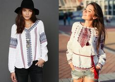Embroidery in modern everyday images Folk Fashion, Womens Fashion, Embroidery Fashion, Make Design, Kimono Top, Ruffle Blouse, Tunic Tops, Stitch, My Style