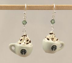 Miniature Food Starbucks Cappuccino Earrings by miniholiday, $9.99
